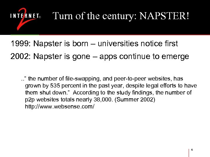 Turn of the century: NAPSTER! 1999: Napster is born – universities notice first 2002: