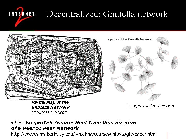Decentralized: Gnutella network Partial Map of the Gnutella Network http: //www. limewire. com http:
