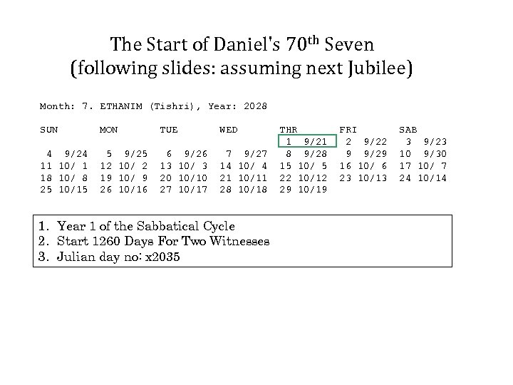 The Start of Daniel's 70 th Seven (following slides: assuming next Jubilee) Month: 7.
