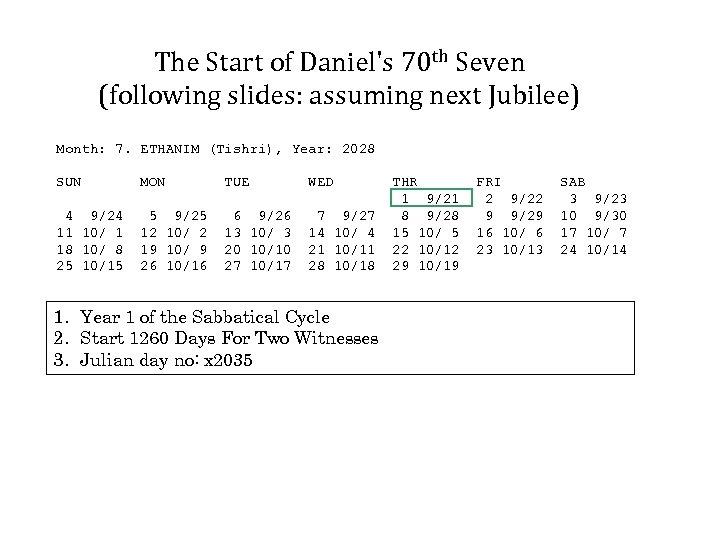 The Start of Daniel's 70 th Seven (following slides: assuming next Jubilee) Month: 7.