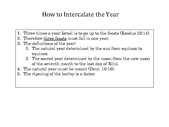How to Intercalate the Year 1. Three times a year Israel is to go