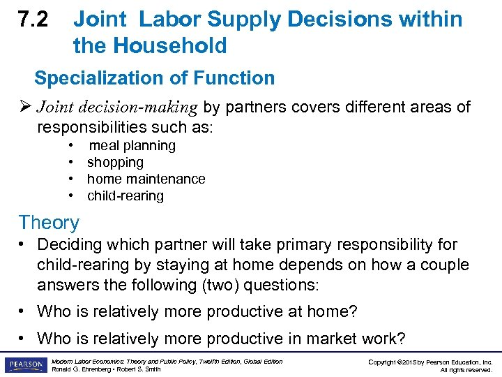 7. 2 Joint Labor Supply Decisions within the Household Specialization of Function Ø Joint