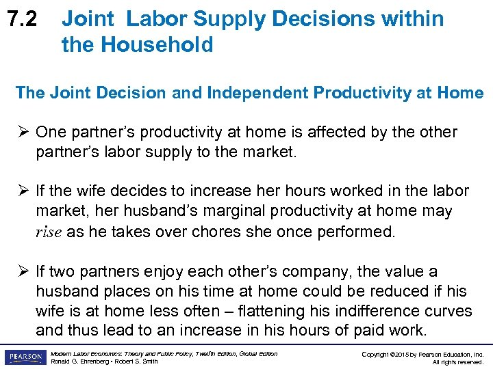 7. 2 Joint Labor Supply Decisions within the Household The Joint Decision and Independent