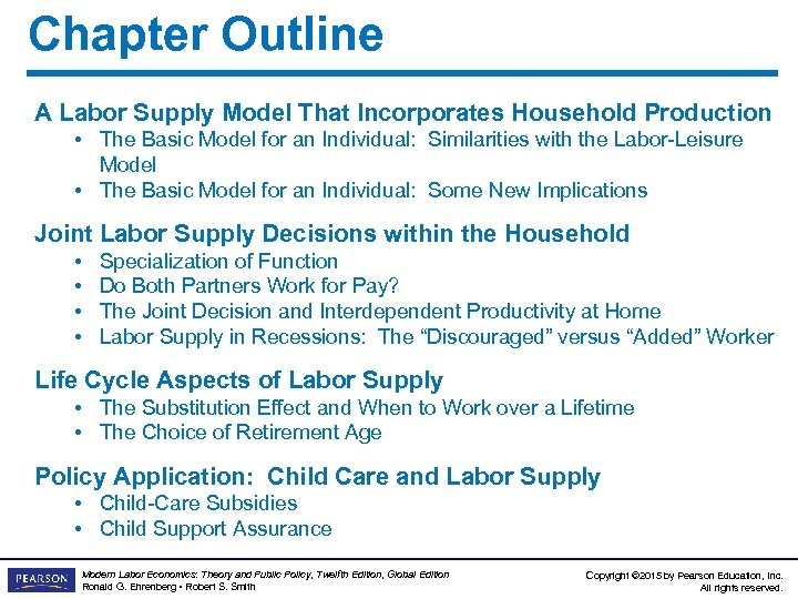 Chapter Outline A Labor Supply Model That Incorporates Household Production • The Basic Model