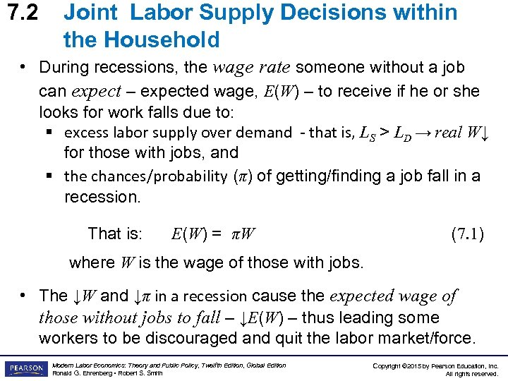 7. 2 Joint Labor Supply Decisions within the Household • During recessions, the wage