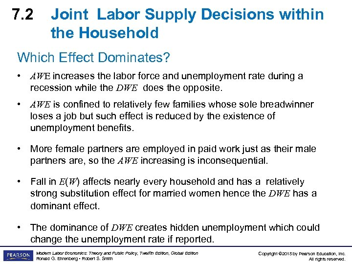 7. 2 Joint Labor Supply Decisions within the Household Which Effect Dominates? • AWE