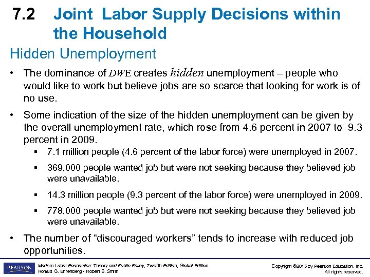 7. 2 Joint Labor Supply Decisions within the Household Hidden Unemployment • The dominance