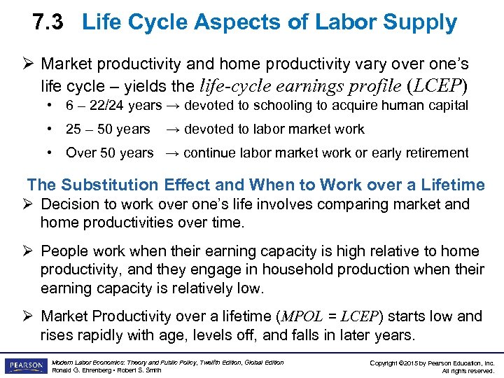 7. 3 Life Cycle Aspects of Labor Supply Ø Market productivity and home productivity