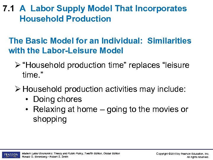 7. 1 A Labor Supply Model That Incorporates Household Production The Basic Model for