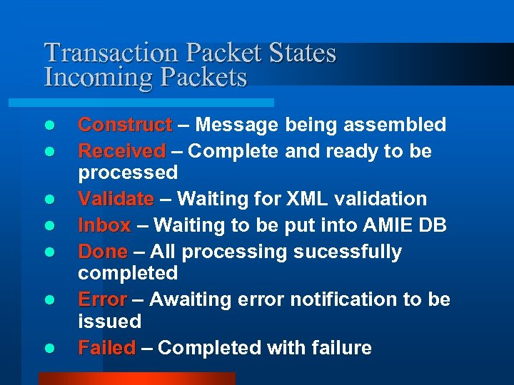 Transaction Packet States Incoming Packets l l l l Construct – Message being assembled