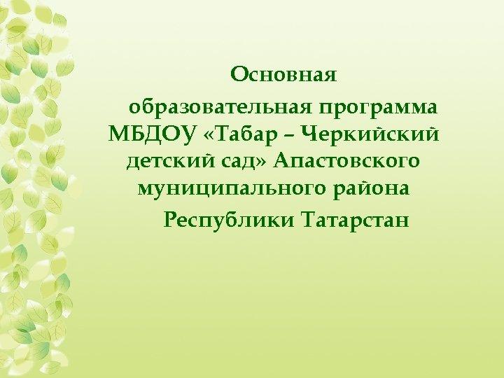 Основная образовательная программа МБДОУ «Табар – Черкийский детский сад» Апастовского муниципального района Республики Татарстан