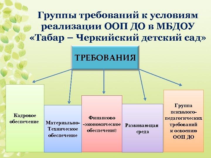 Группы требований к условиям реализации ООП ДО в МБДОУ «Табар – Черкийский детский сад»
