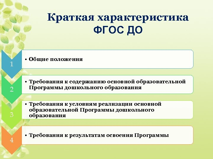 Краткая характеристика ФГОС ДО 1 2 3 4 • Общие положения • Требования к