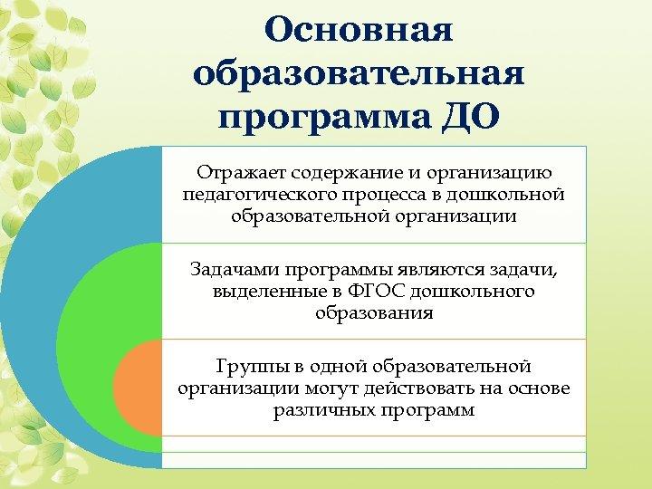 Основная образовательная программа ДО Отражает содержание и организацию педагогического процесса в дошкольной образовательной организации