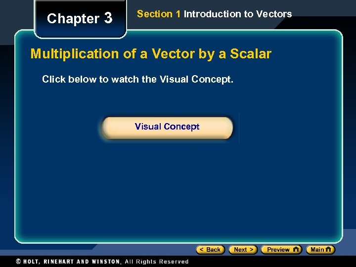 Chapter 3 Section 1 Introduction to Vectors Multiplication of a Vector by a Scalar