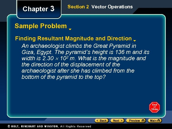 Chapter 3 Section 2 Vector Operations Sample Problem Finding Resultant Magnitude and Direction An