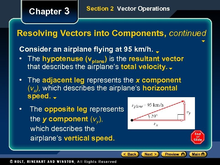 Chapter 3 Section 2 Vector Operations Resolving Vectors into Components, continued Consider an airplane
