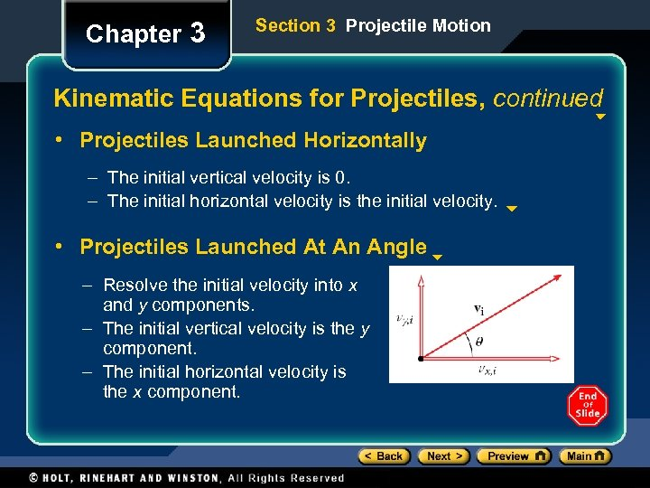 Chapter 3 Section 3 Projectile Motion Kinematic Equations for Projectiles, continued • Projectiles Launched