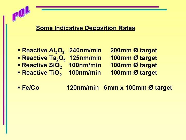 Some Indicative Deposition Rates § Reactive Al 2 O 3 § Reactive Ta 2
