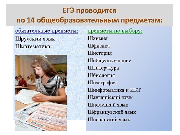 ЕГЭ проводится по 14 общеобразовательным предметам: обязательные предметы: Шрусский язык Шматематика предметы по выбору: