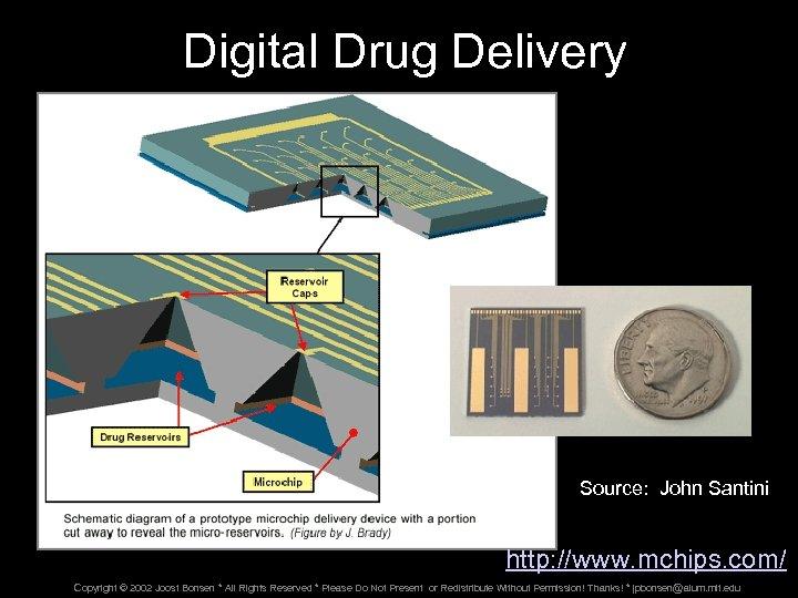 Digital Drug Delivery Source: John Santini http: //www. mchips. com/ Copyright © 2002 Joost
