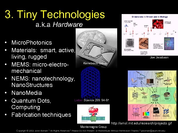 3. Tiny Technologies a. k. a Hardware • Micro. Photonics • Materials: smart, active,