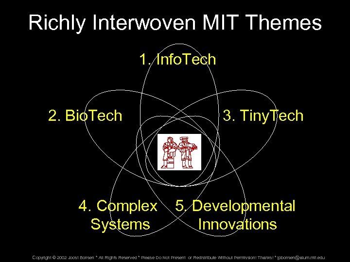 Richly Interwoven MIT Themes 1. Info. Tech 2. Bio. Tech 3. Tiny. Tech 4.