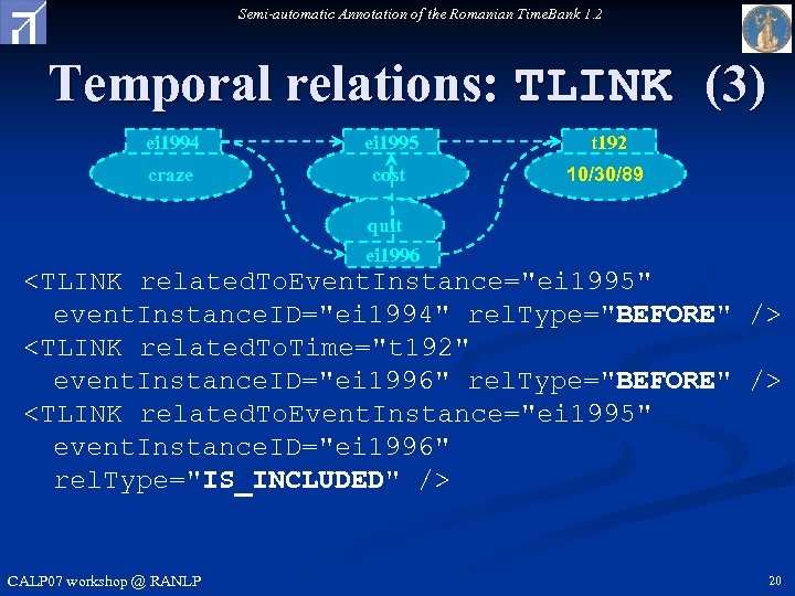 Semi-automatic Annotation of the Romanian Time. Bank 1. 2 Temporal relations: TLINK (3) ei