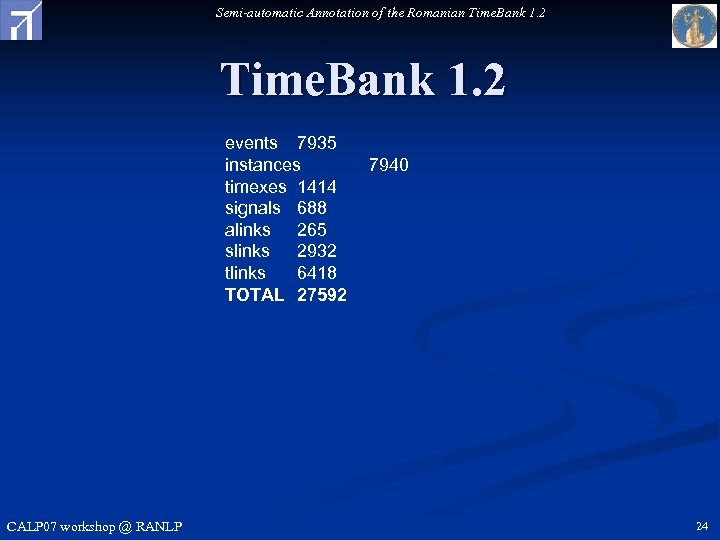 Semi-automatic Annotation of the Romanian Time. Bank 1. 2 events 7935 instances timexes 1414