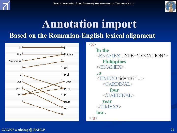 Semi-automatic Annotation of the Romanian Time. Bank 1. 2 Annotation import Based on the