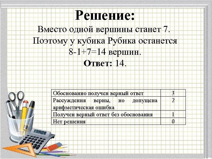 Решение: Вместо одной вершины станет 7. Поэтому у кубика Рубика останется 8 -1+7=14 вершин.