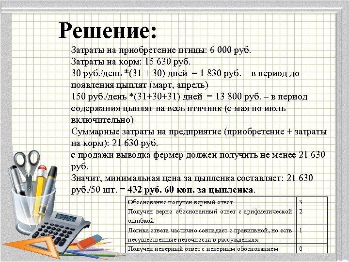 Решение: Затраты на приобретение птицы: 6 000 руб. Затраты на корм: 15 630 руб.