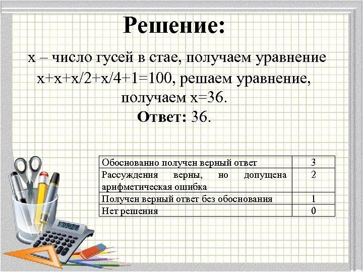 Решение: х – число гусей в стае, получаем уравнение х+х+х/2+х/4+1=100, решаем уравнение, получаем х=36.