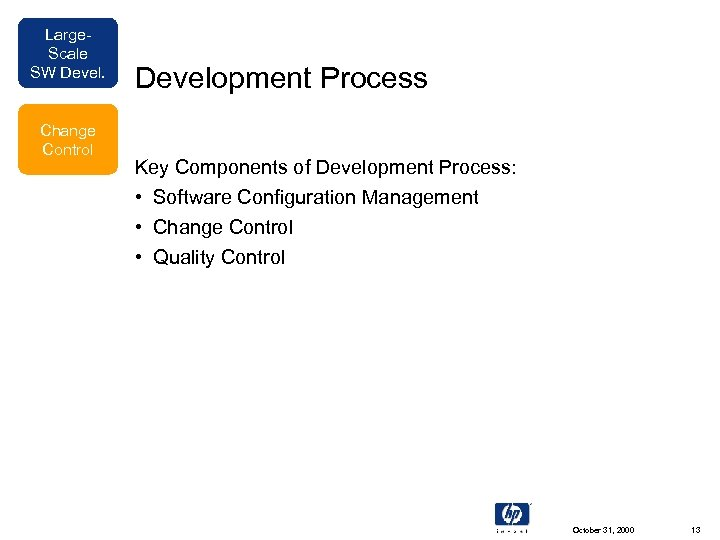 Large. Scale SW Devel. Change Control Development Process Key Components of Development Process: •