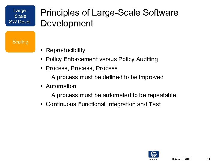 Large. Scale SW Devel. Principles of Large-Scale Software Development Scaling • Reproducibility • Policy