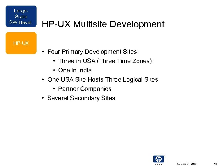 Large. Scale SW Devel. HP-UX Multisite Development HP-UX • Four Primary Development Sites •