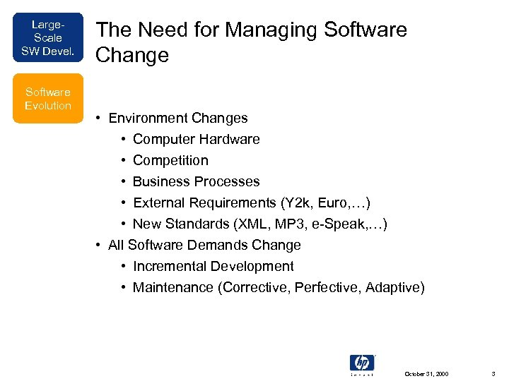 Large. Scale SW Devel. Software Evolution The Need for Managing Software Change • Environment
