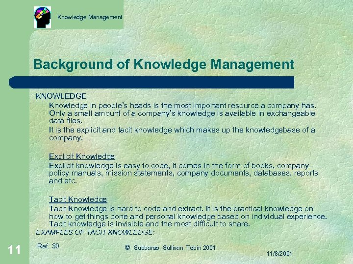 Knowledge Management Background of Knowledge Management KNOWLEDGE Knowledge in people's heads is the most