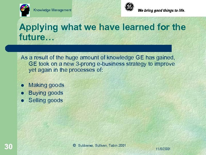 Knowledge Management Applying what we have learned for the future… As a result of