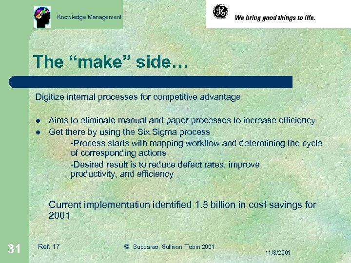 "Knowledge Management The ""make"" side… Digitize internal processes for competitive advantage l l Aims"