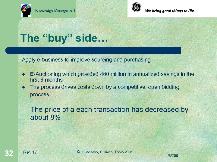 """Knowledge Management The """"buy"""" side… Apply e-business to improve sourcing and purchasing l l"""