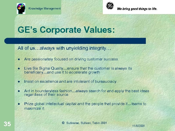 Knowledge Management GE's Corporate Values: All of us…always with unyielding integrity… l l Live