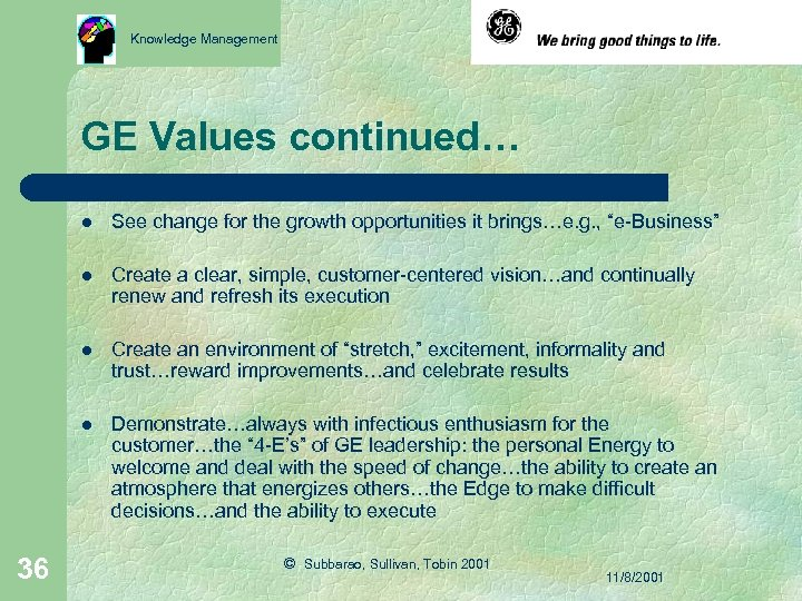 Knowledge Management GE Values continued… l l Create a clear, simple, customer-centered vision…and continually