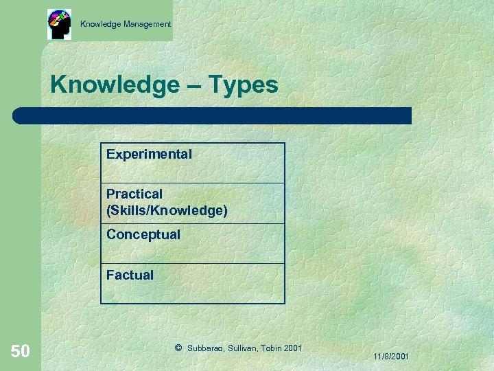 Knowledge Management Knowledge – Types Experimental Practical (Skills/Knowledge) Conceptual Factual 50 © Subbarao, Sullivan,