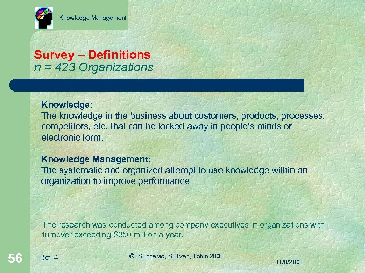Knowledge Management Survey – Definitions n = 423 Organizations Knowledge: The knowledge in the