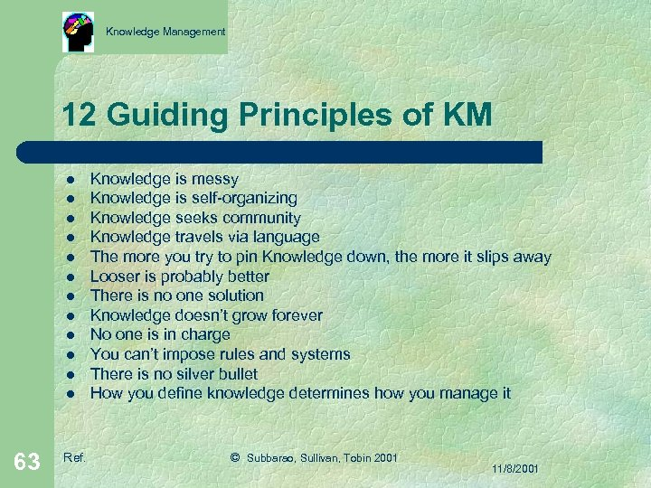 Knowledge Management 12 Guiding Principles of KM l l l 63 Ref. Knowledge is