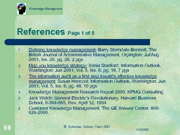 Knowledge Management References Page 1 of 5 1. 2. 3. 4. 5. 6. 69