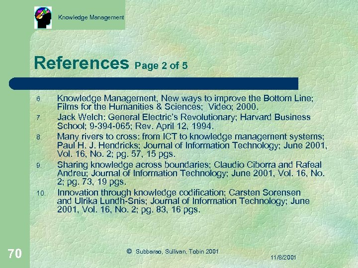 Knowledge Management References Page 2 of 5 6. 7. 8. 9. 10. 70 Knowledge