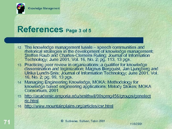 Knowledge Management References Page 3 of 5 12. 13. 14. 15. 16. 71 The