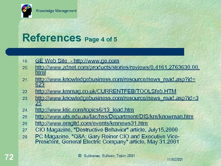 Knowledge Management References Page 4 of 5 19. 20. 21. 22. 23. 24. 25.